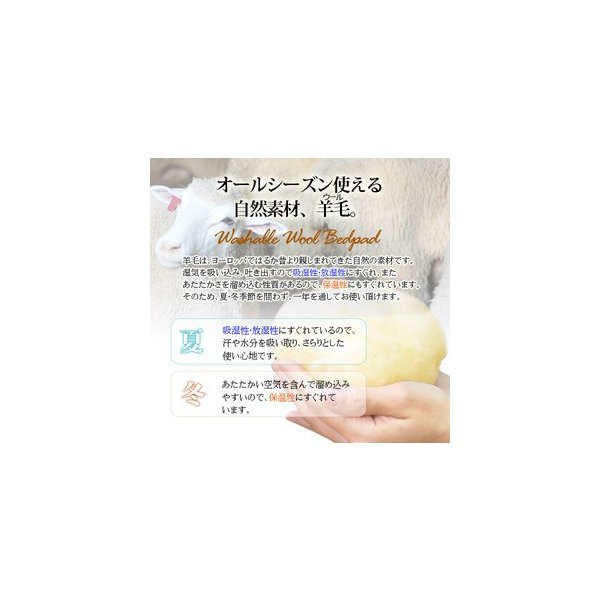 ウォッシャブル ウール100% ベッドパッド 敷きパッド シングルサイズ|sakai-f|02