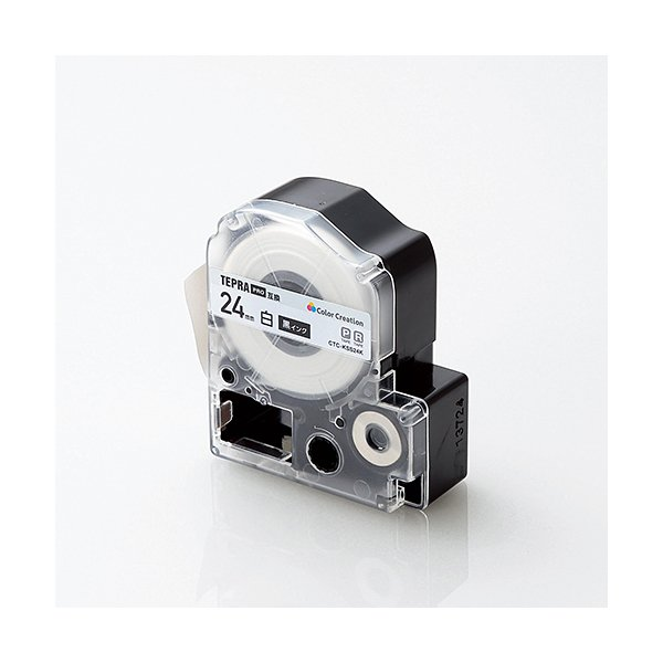 カラークリエーション CTC-KSS24K テプラPRO用 テープカートリッジ 白ラベル 黒文字 24mm幅タイプ 8m
