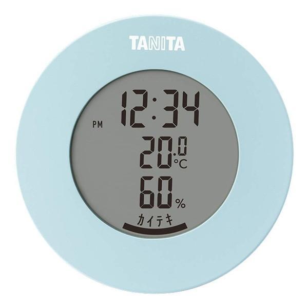 TANITA タニタ TT-585-BL 温度計 湿度計 水色 デジタル 温湿度計 ライトブルー ラウンド型 丸形 見やすい マグネット 置き掛け