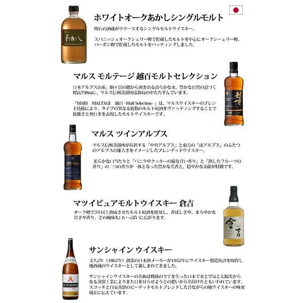 国産ウイスキー 飲み比べ 5本セット ジャパニーズウイスキー 送料無料 sakenochawanya 02