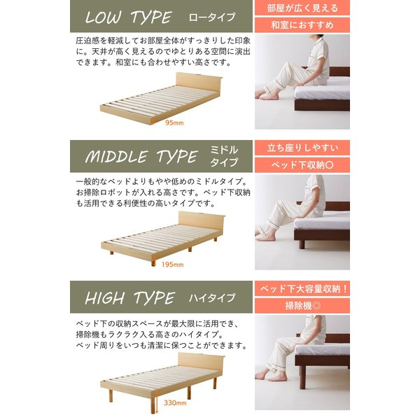 すのこベッド セミダブル ライフ スノコ ベッドフレーム SD 宮棚付き コンセント ベッド すのこ 通気性 脚付き 天然木 おしゃれ SJ Web限定 HS|sakoda|14