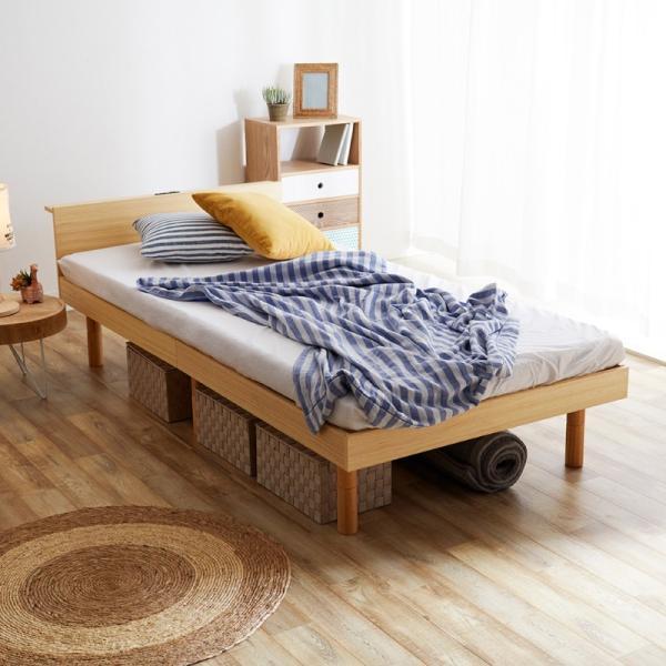 すのこベッド セミダブル ライフ スノコ ベッドフレーム SD 宮棚付き コンセント ベッド すのこ 通気性 脚付き 天然木 おしゃれ SJ Web限定 HS|sakoda|16