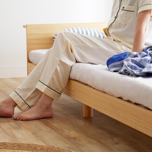 すのこベッド セミダブル ライフ スノコ ベッドフレーム SD 宮棚付き コンセント ベッド すのこ 通気性 脚付き 天然木 おしゃれ SJ Web限定 HS|sakoda|05