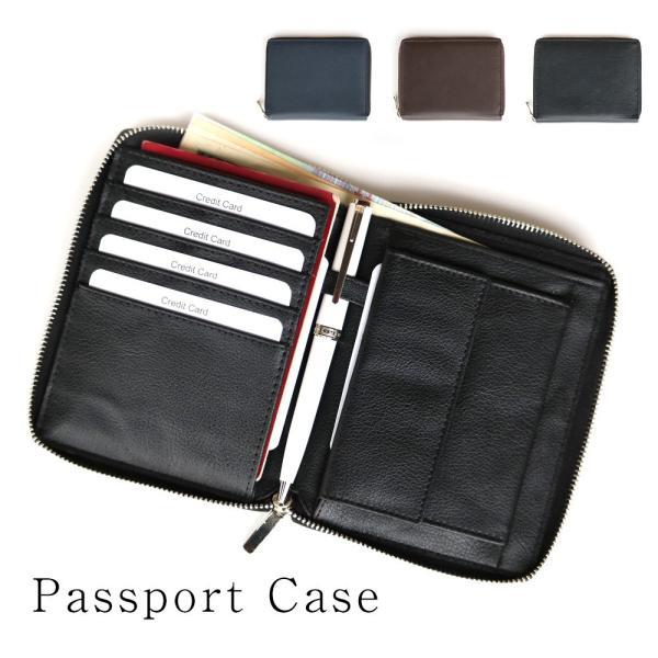 パスポートケース マルチカードケース 革 メンズ財布 カード入 紳士財布 紳士 レザー財布 母子手帳ケース 通帳ケース|saku-saku-shop