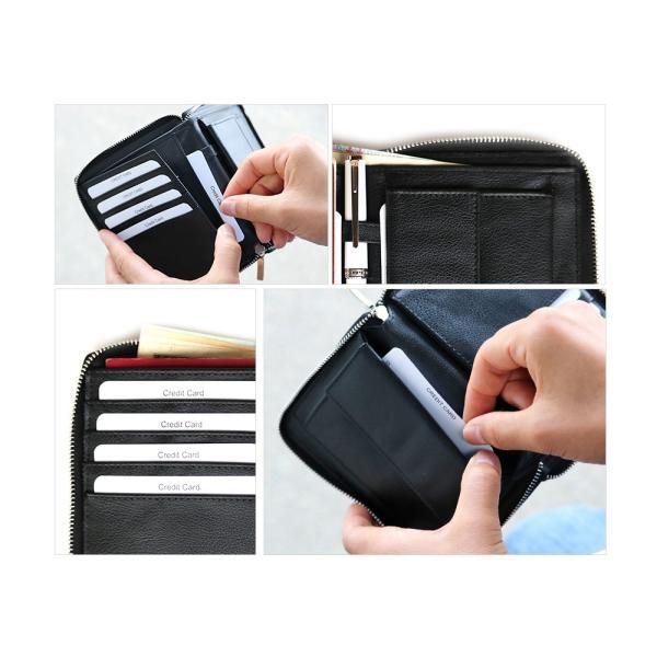 パスポートケース マルチカードケース 革 メンズ財布 カード入 紳士財布 紳士 レザー財布 母子手帳ケース 通帳ケース|saku-saku-shop|04