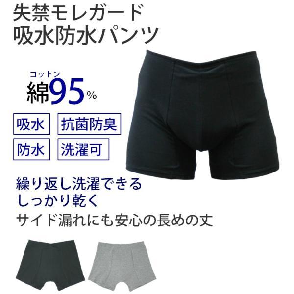 失禁尿漏れガード用メンズ吸水防水パンツ男性用綿素材M/L/LL気になる尿もれにメール便