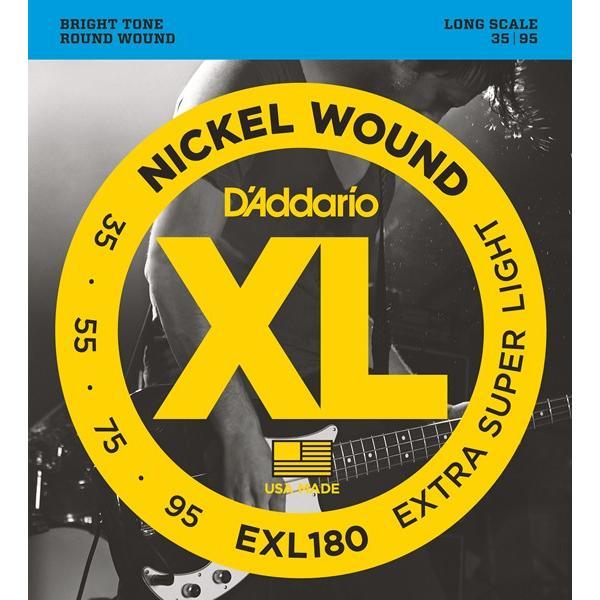"""D'Addario ダダリオ ベース弦 EXL180 """"XL Nickel Round Wound""""  [daddario exl-180](ゆうパケット対応)"""