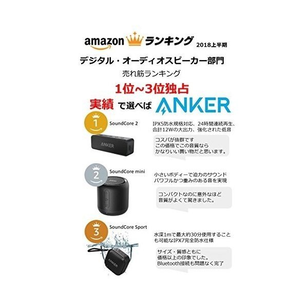Anker SoundCore mini コンパクト Bluetoothスピーカー 【15時間連続再生/内蔵マイク搭載/micro SDカード & FMラジオ対応】(ブラック)|sakuramedical|02