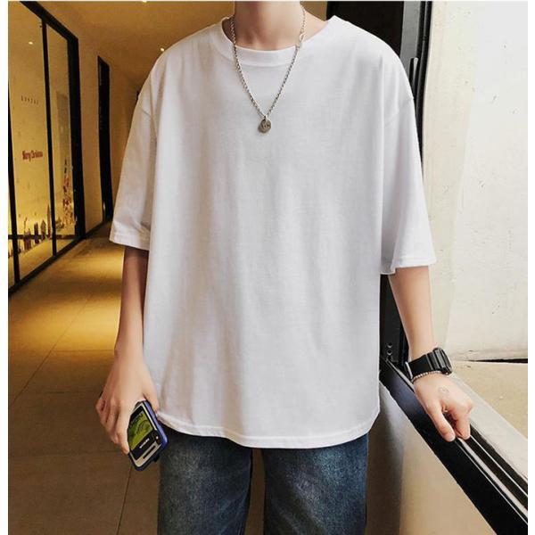 Tシャツメンズ半袖五分丈袖おしゃれカジュアルシャツクールネックトップスコットンカットソー消化春夏2021