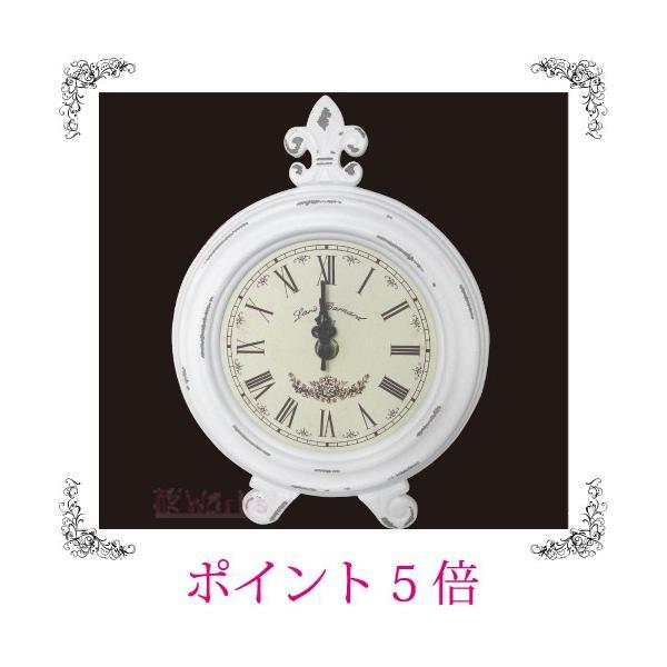 置き時計 ラウンド 白 レトロ アンティーク調 おしゃれ 雑貨 TC901|sakuraworks