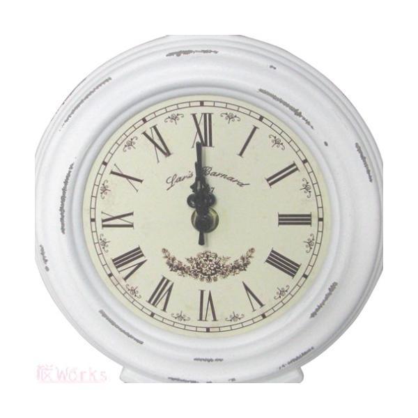 置き時計 ラウンド 白 レトロ アンティーク調 おしゃれ 雑貨 TC901|sakuraworks|02