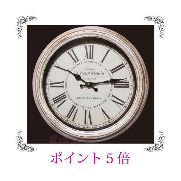 壁掛け時計 ウォールクロック レトロ アンティーク調 シャビーシック 白 おしゃれ 雑貨|sakuraworks
