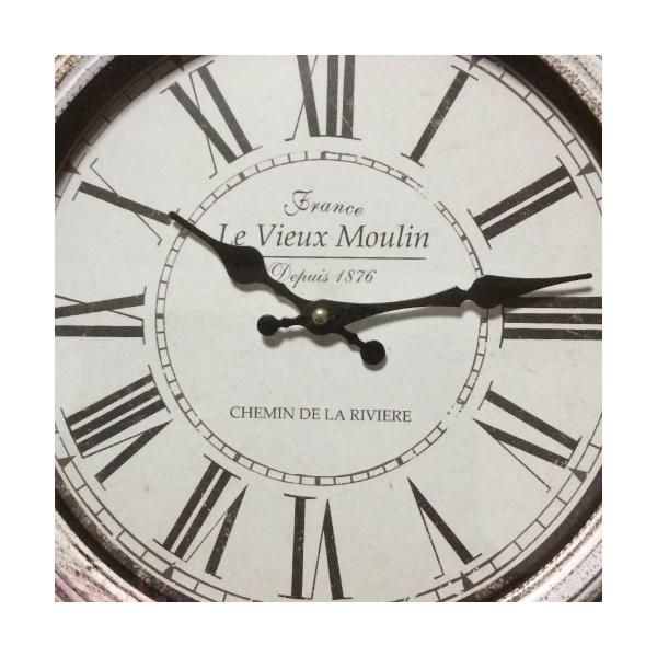 壁掛け時計 ウォールクロック レトロ アンティーク調 シャビーシック 白 おしゃれ 雑貨|sakuraworks|02