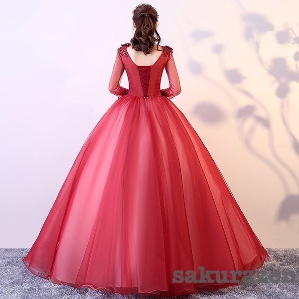 送料無料 レディース カラードレス ウェディング ロング 二次会ドレス パーティー ロング ドレス 花嫁ドレス 大きいサイズ 結婚式 ワインレッド