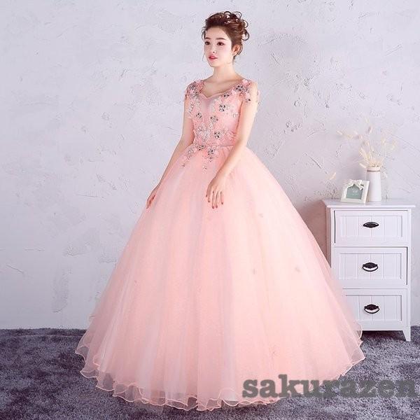 送料無料 レディース カラードレス ウェディング ロング 二次会ドレス パーティー ロング ドレス 花嫁ドレス 大きいサイズ 結婚式 ピンク