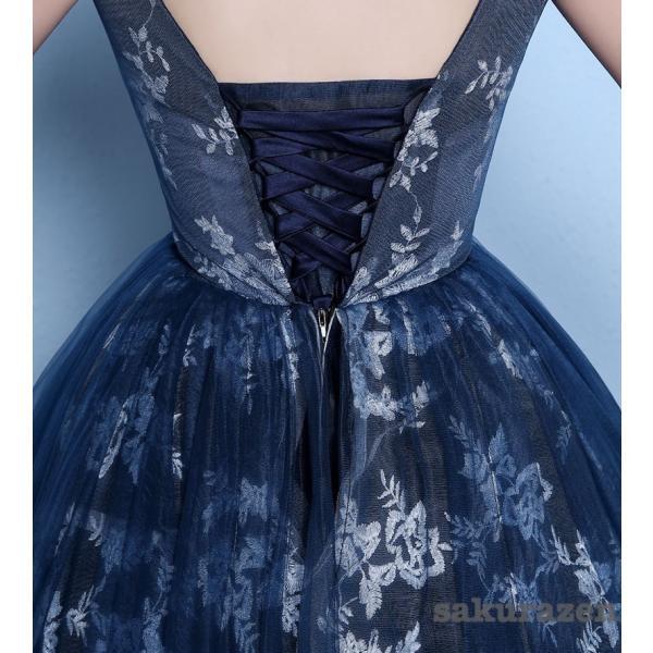 送料無料 レディース ロング ドレス ウェディング 花嫁ドレス カラードレス 結婚式ドレス 披露宴パーティー 写真撮影ドレス 紺色