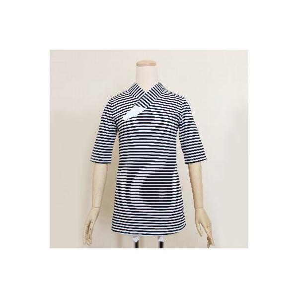 Tシャツ半襦袢 半襦袢 シマシマ ふぁんじゅ  素早く美しい衿元 本体綿100% M L LL 女性用 紺×白、グレー×白 日本製 ゆうパケット対応|sakusaku-plus