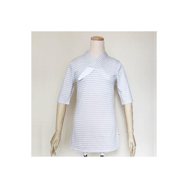 Tシャツ半襦袢 半襦袢 シマシマ ふぁんじゅ  素早く美しい衿元 本体綿100% M L LL 女性用 紺×白、グレー×白 日本製 ゆうパケット対応|sakusaku-plus|02
