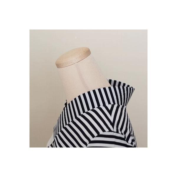 Tシャツ半襦袢 半襦袢 シマシマ ふぁんじゅ  素早く美しい衿元 本体綿100% M L LL 女性用 紺×白、グレー×白 日本製 ゆうパケット対応|sakusaku-plus|03