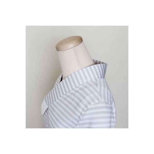 Tシャツ半襦袢 半襦袢 シマシマ ふぁんじゅ  素早く美しい衿元 本体綿100% M L LL 女性用 紺×白、グレー×白 日本製 ゆうパケット対応|sakusaku-plus|04