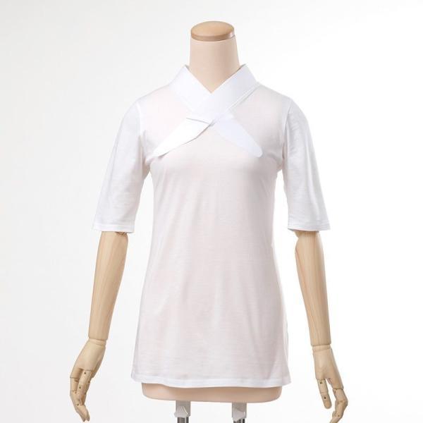 大きいサイズ 3L Tシャツ半襦袢 半襦袢 ふぁんじゅ  シンプルな 白衿 素早く美しい衿元 本体綿100% 女性用 白 日本製     sakusaku-plus
