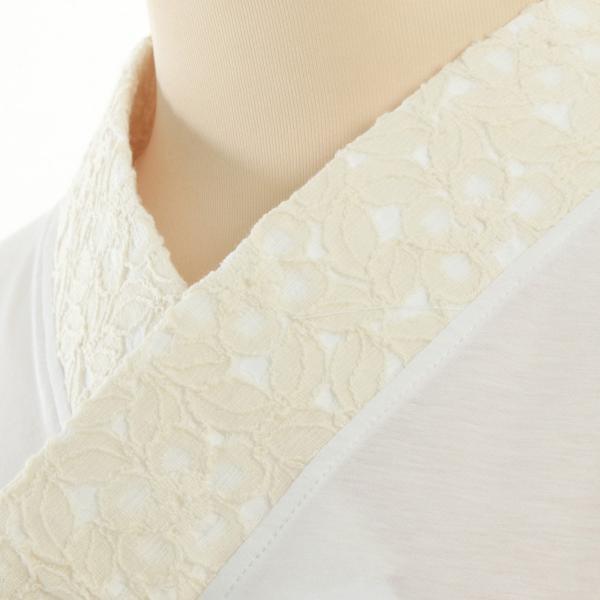 Tシャツ半襦袢 半襦袢 ふぁんじゅ 椿レース 上品なレース衿 簡単に美しい衿元 本体綿100% 女性用 M L LL 白/生成/黒 日本製 sakusaku-plus
