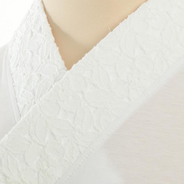 Tシャツ半襦袢 半襦袢 ふぁんじゅ 椿レース 上品なレース衿 簡単に美しい衿元 本体綿100% 女性用 M L LL 白/生成/黒 日本製 sakusaku-plus 02