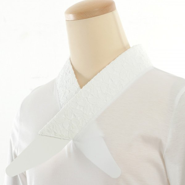 Tシャツ半襦袢 半襦袢 ふぁんじゅ 椿レース 上品なレース衿 簡単に美しい衿元 本体綿100% 女性用 M L LL 白/生成/黒 日本製 sakusaku-plus 05