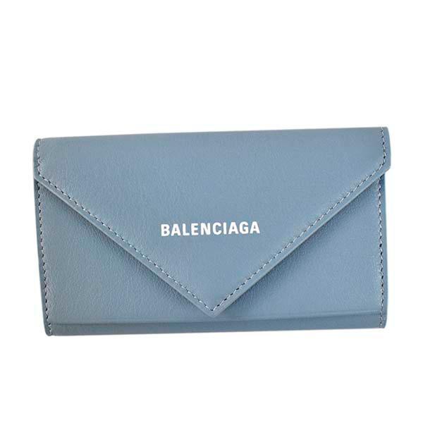 バレンシアガ BALENCIAGA 6連 キーケース キーリング付き 499204 18D3N 4791 PAPIER KEY CASEE ペーパー BLUE GREY/L WHITE ブルー系