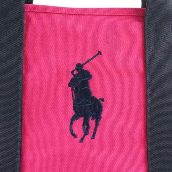 ポロ ラルフローレン POLO RALPH LAUREN ポニー ロゴ刺繍 トートバッグ ショルダーバッグ RA100027A POLO PONY TOTE MD ピンク+ネイビー