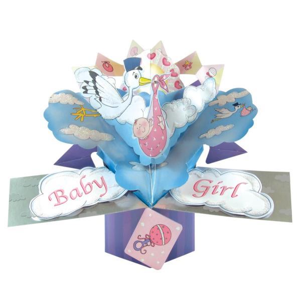 出産祝い 女 新生児 ベビー ポップアップカード グリーティングカード 出産のお祝い 安い プレゼント デザイン オシャレ おしゃれ 雑貨 メッセージ入り 絵葉書