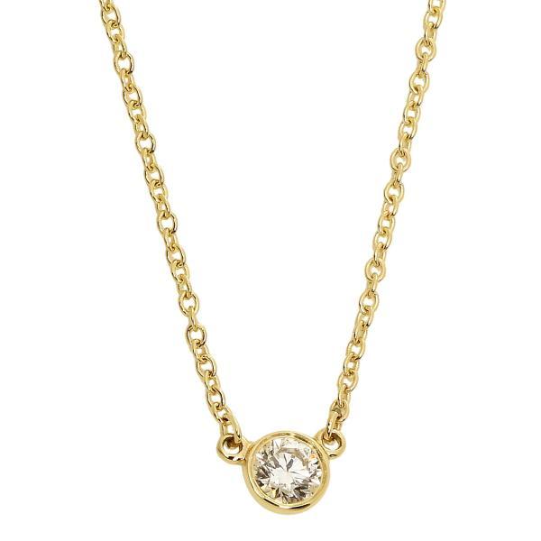 ティファニー TIFFANY&CO. エルサ・ペレッティ バイザヤード シングル ダイヤモンド ペンダント ネックレス 0.05ct 16in 18Y 10769213 YELLOW GOLD