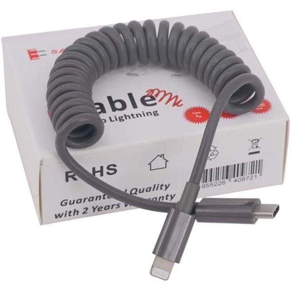 USB-C & ライトニング (Lightning)ケーブル【Apple MFi認証取得済】,急速充電&データ同期,グレー 1.2m c to lightning Coil Cable|salomjapan