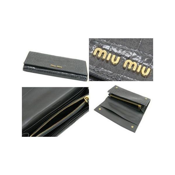 ミュウミュウ 二つ折 長財布 グレー 5M1109-ST-COCCO-LUX-GRAFITE|salon-de-miel|02