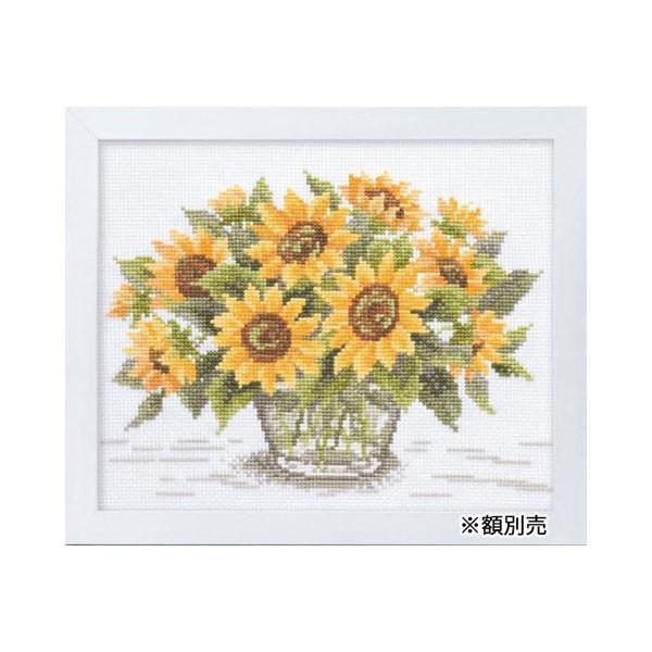 ししゅうキット 7287(白) やさしい花刺しゅう額 サンフラワー
