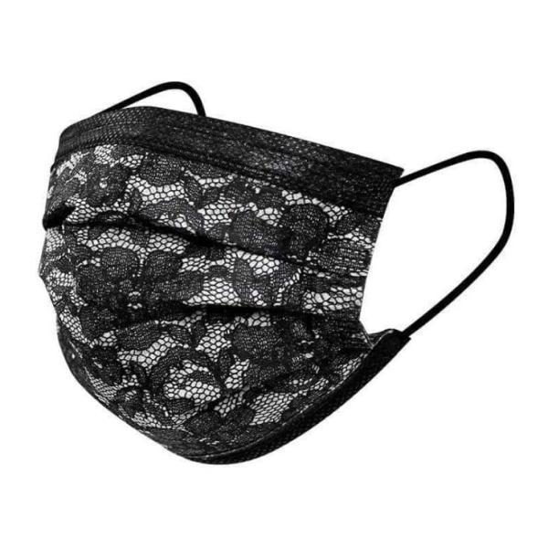 マスク不織布50枚レース花柄マスク使い捨て三層構造カラーマスクおしゃれ黒花見大人用マスクウィルス飛沫安い