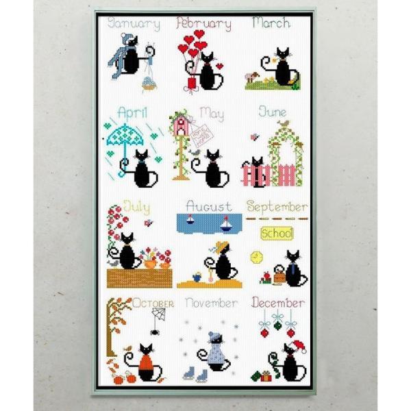 刺繍 キット クロスステッチキット 猫 ねこ 図案 図案印刷 初心者 簡単 おしゃれ かわいい 壁アート 壁装飾 部屋飾り 飾り cxy77-ss