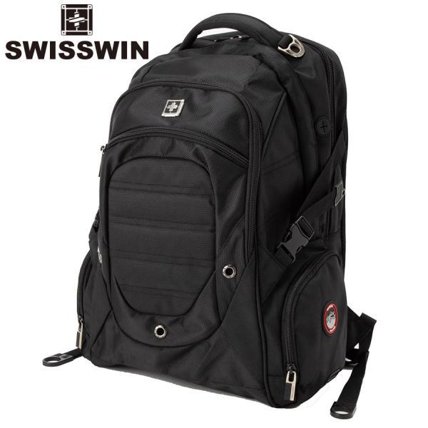 swisswin リュック メンズ リュックサック 防災 大容量 撥水 登山 通学 ノート PC収納 ビジネス 旅行バッグ 通勤用 出張  大きめ SW9275I|sancai