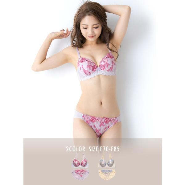 下着女性 上下セット 大きいサイズ ブラジャー ショーツセット ブラ セット 下着 ブラショーツセット 花柄 バラ|sancha|02