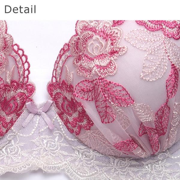 下着女性 上下セット 大きいサイズ ブラジャー ショーツセット ブラ セット 下着 ブラショーツセット 花柄 バラ|sancha|05
