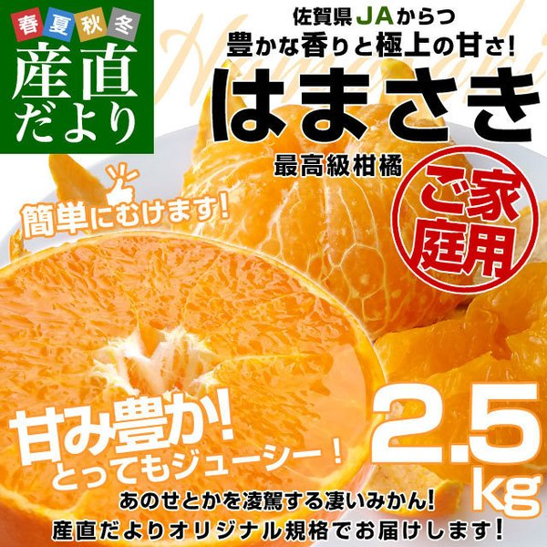 佐賀県より産地直送 JAからつ はまさき ご家庭用 ちょっと訳あり LからSサイズ 約2.5キロ (12から18玉前後)  送料無料 柑橘 オレンジ みかん sanchokudayori
