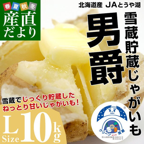 北海道より産地直送 JAとうや湖 雪蔵貯蔵じゃがいも (男爵) Lサイズ 10キロ  送料無料 芋 ジャガイモ 馬鈴薯|sanchokudayori