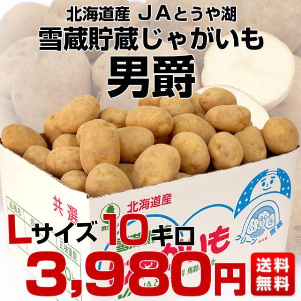 北海道より産地直送 JAとうや湖 雪蔵貯蔵じゃがいも (男爵) Lサイズ 10キロ  送料無料 芋 ジャガイモ 馬鈴薯|sanchokudayori|02
