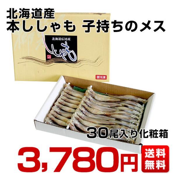 北海道から産地直送 北海道産 本ししゃも 子持ちのメス 30尾入化粧箱 送料無料 柳葉魚 本シシャモ|sanchokudayori|02