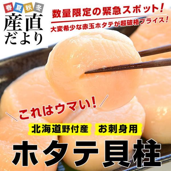 北海道より直送 北海道野付産 生食用冷凍ホタテ貝柱(玉冷 赤玉)Lサイズ 500g(12から14粒前後)ほたて 帆立 魚介 刺身 送料無料 冷凍便