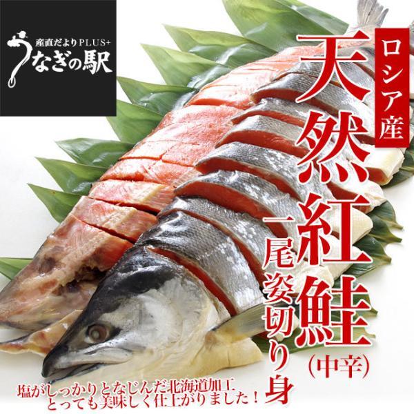 北海道加工 天然紅鮭 <中辛> 1尾姿切り身 約1.6キロ 送料無料 ロシア産 冬ギフト ※クール冷凍便