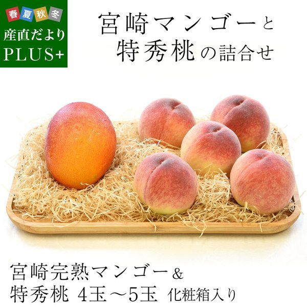 宮崎マンゴーと特秀桃 詰合せフルーツセット 化粧箱入り まんごー もも 送料無料 お中元ギフト|sanchokudayoriplus