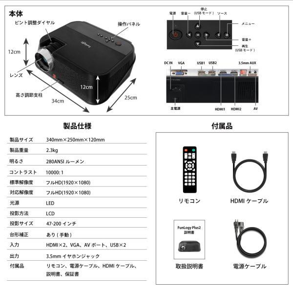 プロジェクター  高画質 3500ルーメン 高解像度 プロジェクタ 家庭用 モバイル スマホ iphone ビジネス 安い HDMI ケーブル付 本体 映画 FUNPLAY Plus FunLogy|sandlot-books|21