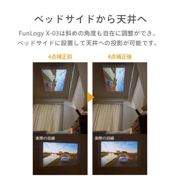 プロジェクター 小型 モバイルプロジェクター 本体 家庭用 ビジネス モバイル 天井 モバイル 安い iPhone スマホ Bluetooth Wi-Fi 高画質 DLP HDMI X-03 FunLogy sandlot-books 05