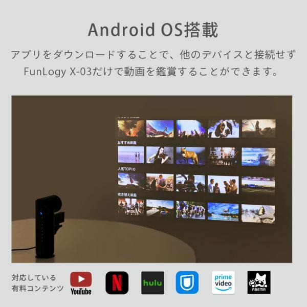 プロジェクター 小型 モバイルプロジェクター 本体 家庭用 ビジネス モバイル 天井 モバイル 安い iPhone スマホ Bluetooth Wi-Fi 高画質 DLP HDMI X-03 FunLogy sandlot-books 06